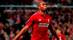 Daniel Sturridge celebrates after opening the scoring for Liverpool. Photo: Julian Finney/Getty Images)