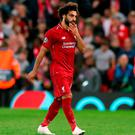 Liverpool's Mohamed Salah appears dejected during the UEFA Champions League, Group C match at Anfield
