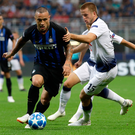 Tottenham defender Eric Dier, right, vies for the ball with Inter midfielder Radja Nainggolan at the Milan San Siro Stadium. Photo: AP