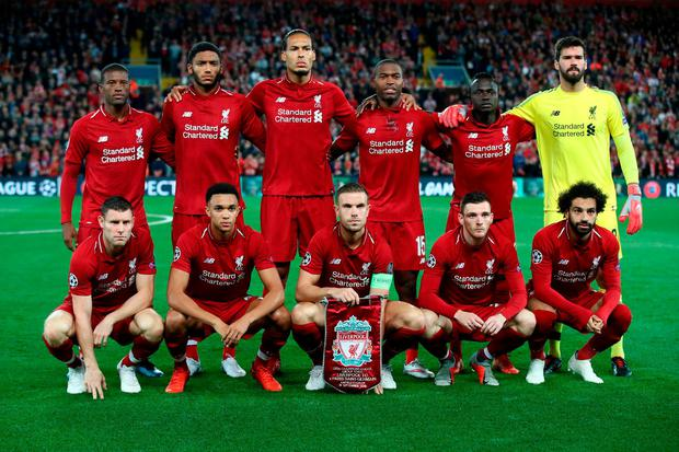 8a50d8a23af Liverpool line up prior to the Group C match of the UEFA Champions League  between Liverpool