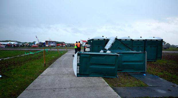 National Ploughing Championships 2018. Portaloos blown over as storm Ali arrives in Tullamore. Picture; Gerry Mooney