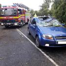 Motorist had a lucky escape after a tree fell on car Photo: An Garda Siochana