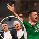 Robbie Keane scored 68 times for Ireland and (inset) with Eamon Dunphy at the Paddy Power 30th birthday bash