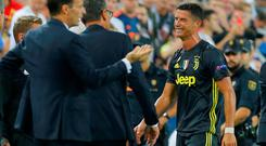 Juventus' Cristiano Ronaldo reacts after being sent off