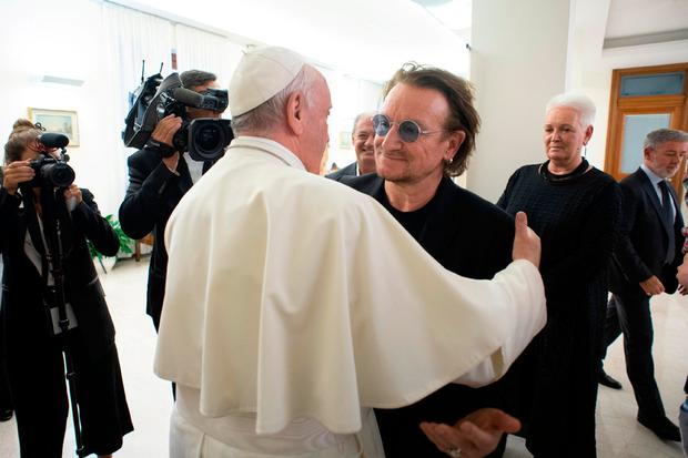 Image result for bono pope francis