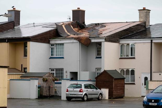 A house in Purcell Park, Shannon, Co Clare is damaged by Storm Ali. Photo: Eamon Ward