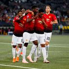 Manchester United's Paul Pogba celebrates with Fred, Anthony Martial and Diogo Dalot after scoring their second goal