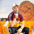 Limerick hurling star Cian Lynch speaking to the crowd in the Irish Independent tent at the National Ploughing Championships on Tuesday. Photo: Kyran O'Brien