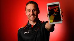 2017 PwC Footballer of the Year Andy Moran got a preview of the PwC All-Stars App which will be available to download from next week. This is the app for all you need on PwC All-Star news, updates, and trivia on previous teams. Photo: Sportsfile