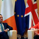 Britain's Prime Minister Theresa May and Ireland's Prime Minister, Taoiseach Leo Varadkar attend a bilateral meeting during the informal summit of European Union leaders in Salzburg, Austria, September 20, 2018. REUTERS/Leonhard Foeger