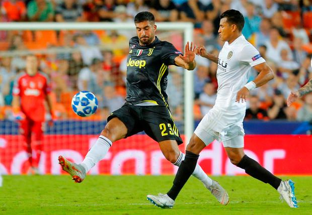 Soccer Football - Champions League - Group Stage - Group H - Valencia v Juventus - Mestalla, Valencia, Spain - September 19, 2018 Juventus' Emre Can in action REUTERS/Heino Kalis
