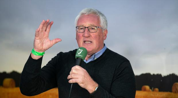 Pat Spillane chatting in the Independent Tent at the Ploughing Championships in Screggan Co Offaly.