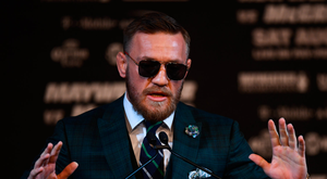 23 August 2017; Conor McGregor during a news conference at the MGM Grand in Las Vegas, USA, ahead of his super welterweight boxing match with Floyd Mayweather Jr at T-Mobile Arena in Las Vegas on Saturday August 26. Photo by Stephen McCarthy/Sportsfile