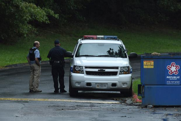 Authorities respond to a shooting in Harford County, Maryland (Jerry Jackson /The Baltimore Sun via AP)