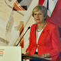 Theresa May in Salzburg (Kerstin Joennson/AP)