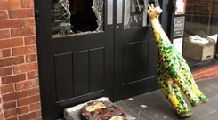 The giraffe sculpture suffered damage to its head and feet during the break-in (West Mercia Police/PA)