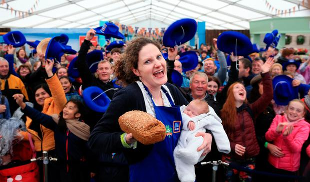 Using your loaf: Emma Ferguson from Trim, Co Meath, who won the brown bread competition at the Ploughing, with her newborn son Paddy. Photo: Gerry Mooney