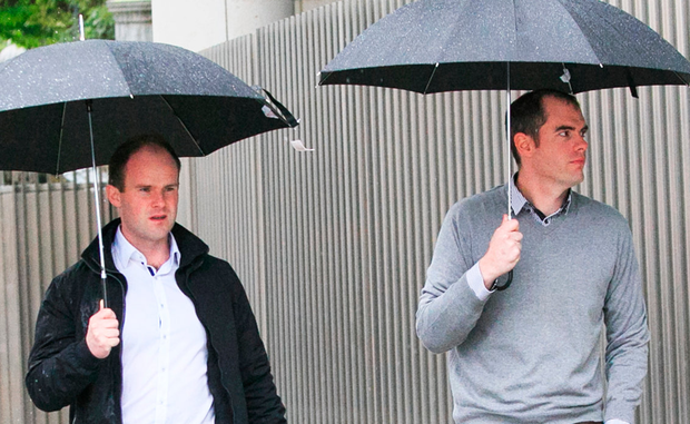 Conor Shannon and Michael Davitt leaving court