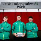 Jonathan Wren, Sean French and John Hodnett at Irish Independent Park. Image credit: Munster rugby.