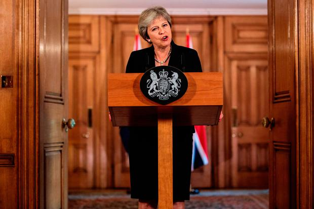 Prime Minister Theresa May speaking in Downing Street in the aftermath of the Salzburg summit Credit: Jack Taylor/PA Wire