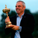 Paul McGinley celebrates with thetrophy after captaining Europe to their last Ryder Cup victory in 2014. Photo: Ian MacNicol/Getty Images