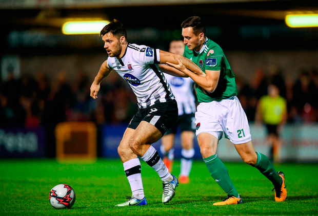 Patrick Hoban of Dundalk in action against Conor McCarthy of Cork City. Photo by Stephen McCarthy/Sportsfile