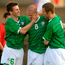 Graham Barrett, celebrates his goal against Albania with team-mate's John O'Flynn and captain Liam Miller, left. Picture credit; Matt Browne / Sportsfile