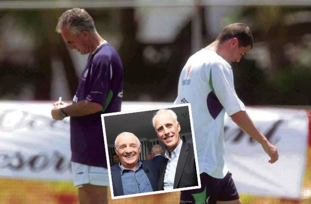 Mick McCarthy and Roy Keane in Saipan and (inset) McCarthy and Eamon Dunphy at Paddy Power birthday bash