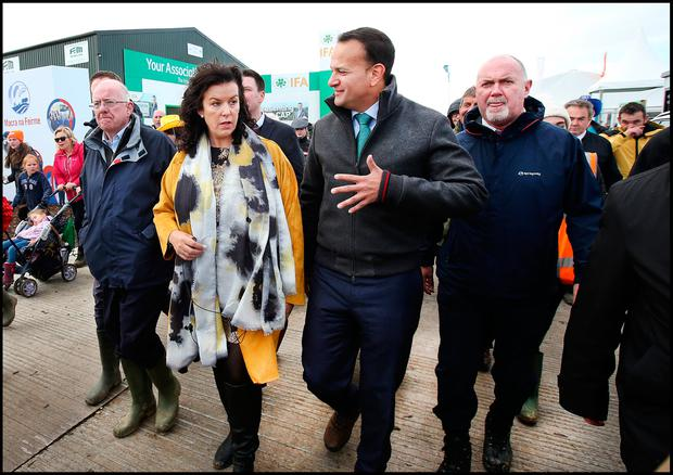 Refund issue: Ploughing organiser Anna Marie McHugh pictured with Taoiseach Leo Varadkar at the Ploughing. Picture: Steve Humphreys