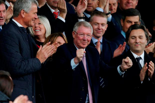 Alex Ferguson and FIFA Council vice-president David Gill in the stands before the match