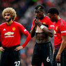 Manchester United's Marouane Fellaini, Paul Pogba and Anthony Martial