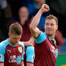 Burnley's Ashley Barnes celebrates scoring their fourth goal with team mates