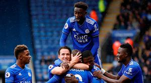 Leicester City's James Maddison celebrates scoring their second goal with teammates
