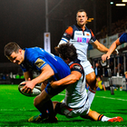 Jonathan Sexton of Leinster scores his side's fourth try despite the tackle of Juan Pablo Socino of Edinburgh during the Guinness PRO14 Round 4 match between Leinster and Edinburgh at the RDS Arena in Dublin.