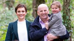FAMILY MAN: Sean Gallagher with Trish, and children Bobby and Lucy. Photo: Tony Kinlan