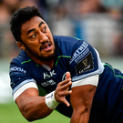 Connacht's Bundee Aki is tackled by Scarlets' Tom Prydie. Photo: Sportsfile