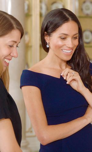 Meghan Markle meets Hannah Belcher, senior exhibitions project co-ordinator at the Royal Collection, as she is reunited with her wedding dress for the first time since her wedding, in a scene from the ITV documentary Queen Of The World, which will be broadcast on Tuesday 25th September 2018 at 9.15pm on ITV. Photo: Oxford Films/PA Wire