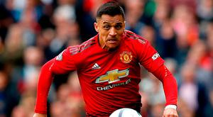Manchester United's Alexis Sanchez in action yesterday