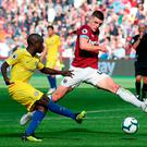 Chelsea's N'Golo Kante (left) and West Ham United's Declan Rice in action during the Premier League match at London Stadium.