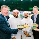 Minister for Agriculture Michael Creed meets with two Arab buyers at last year's Gulfood trade show in Dubai, along with Jens Gloeckner of Ornua and Tara McCarthy, Bord Bia's CEO