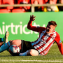 Ronan Hale of Derry City in action against Greg Bolger of Shamrock Rovers. Photo by Oliver McVeigh/Sportsfile