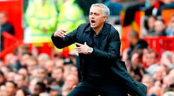 An animated Jose Mourinho gestures to his players at Old Trafford during Manchester United's 1-1 draw against Wolves. Photo credit: Martin Rickett/PA Wire