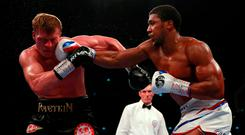 Anthony Joshua lands a right hand during his victory against Alexander Povetkin at Wembley. Photo: REUTERS
