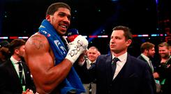 Anthony Joshua is interviewed after his win against Alexander Povetkin. Photo: Action Images via Reuters/Andrew Couldridge