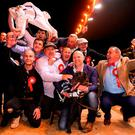 The winning connections, including trainer James Robinson and owner Eamon Cleary, after Ballyanne Sim's victory in the Boylesports Irish Derby at Shelbourne Park. Photo: Harry Murphy/Sportsfile