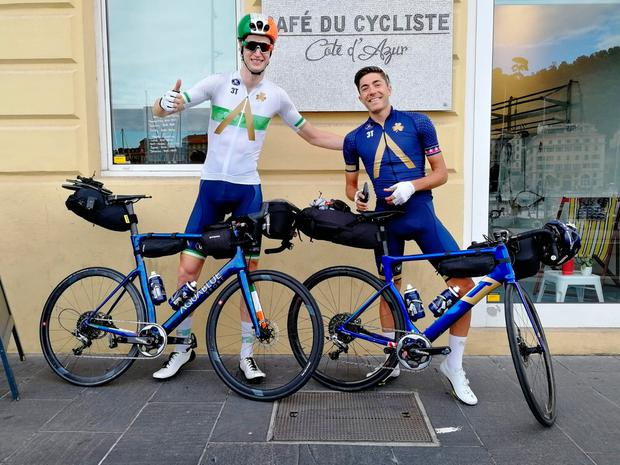 Boys on tour: Conor Dunne and his team-mate Larry Warbasse during their 'NoGoTour'.