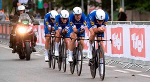 Team Quick-Step Floors of Belgium compete during the men's elite Team Time Trial (TTT) road race during the UCI Cycling Road World Championships in Innsbruck, Austria. Photo: AFP/Getty Images