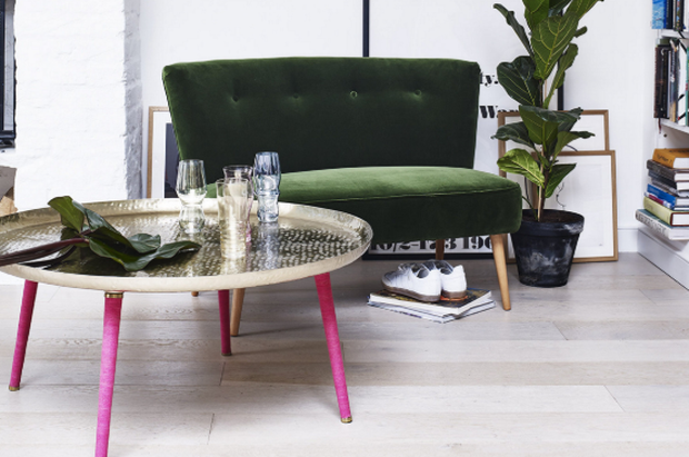 Le Cocktail velvet twin, €600; hammered metal coffee table, €207; oliverbonas.com