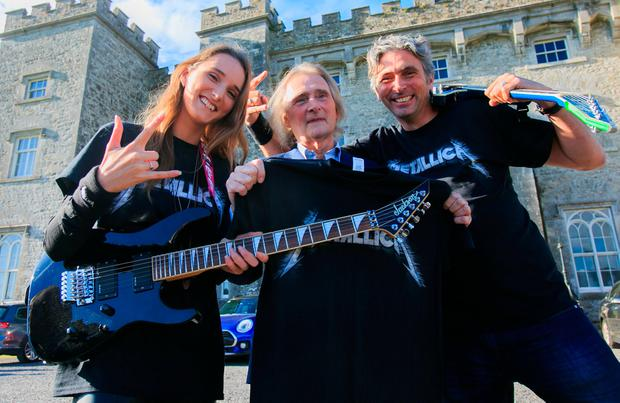 24/09/2018 - (L to R) Tamara Mountcharles, Lord Henry Mountcharles & Alex Mountcharles at the announcement that Metallica have been confirmed to headline Slane Castle next summer 8 June 2019. Photo: Gareth Chaney Collins