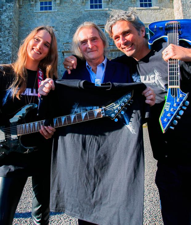 24/09/2018 (L to R) Tamara Mountcharles, Lord Henry Mountcharles & Alex Mountcharles at the announcement that Metallica have been confirmed to headline Slane Castle next summer 8 June 2019. Photo: Gareth Chaney Collins